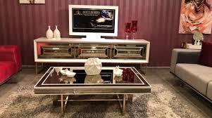 casa padrino luxus couchtisch weiß gold 120 x 80 x h 43 cm wohnzimmertisch mit glasplatte und spiegelglas luxus wohnzimmer möbel