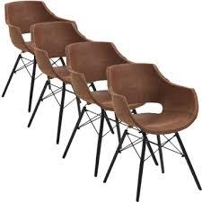 4x bodahl stuhl jazz mit kunststoffschale in büffelleder braun bezogen und schwarz lackierten holzbeinen ideal für ihr esszimmer