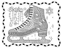 Ice Skate Zentangle Colouring Page