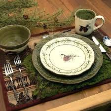 Lodge Dinnerware Sets Rustic The Pine Cone Set By Imports Will Add A