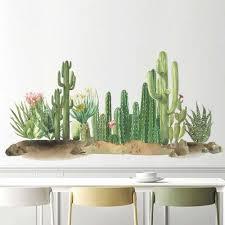 grün kaktus dune wand abziehbilder tropische pflanze wand aufkleber abnehmbare schälen und stick kunst wandmalereien für kinderzimmer schlafzimmer