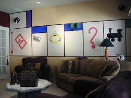 Board Game Inspired Bonus TV Room Self Hand Painted Custom Monopoly Mural W 3D Houses Car Piece And Dice Surround
