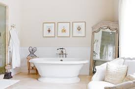 Mirror Framed Art Bathroom Traditional With White Bath Robe Beadboard Wainscoting Small Side Table