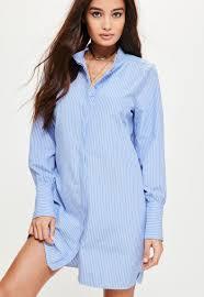 blue pinstripe gold button cuff shirt dress missguided