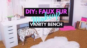 ♡ DIY FAUX FUR MAKEUP VANITY BENCH ♡