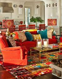 Apartments Luxury Living Room Bohemian Apartment Design Inspiration With Red Laminated Modern Cozy Sofa And Rectangle Gold Coffee Table Added