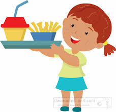 Student Holding Lunch Tray From Cafetaeria Clipart 3