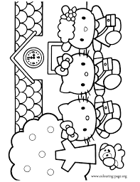 What About Coloring This Beautiful Page With Hello Kitty And Her Friends Mimmy Fifi