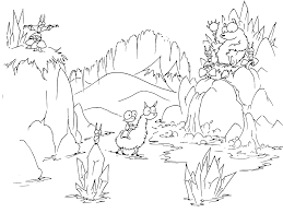 A Free Coloring Page Of Cartoon Monkey Riding Llama Into Bears Cave Full