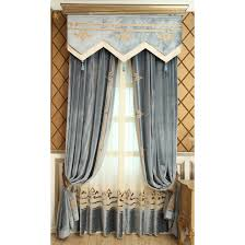 Navy Geometric Pattern Curtains by Blue Geometric Embroidery Velvet Thermal Custom Valance Curtains