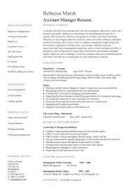 Assistant Manager Resume Retail Jobs CV Job Description Examples Template Duties Samples
