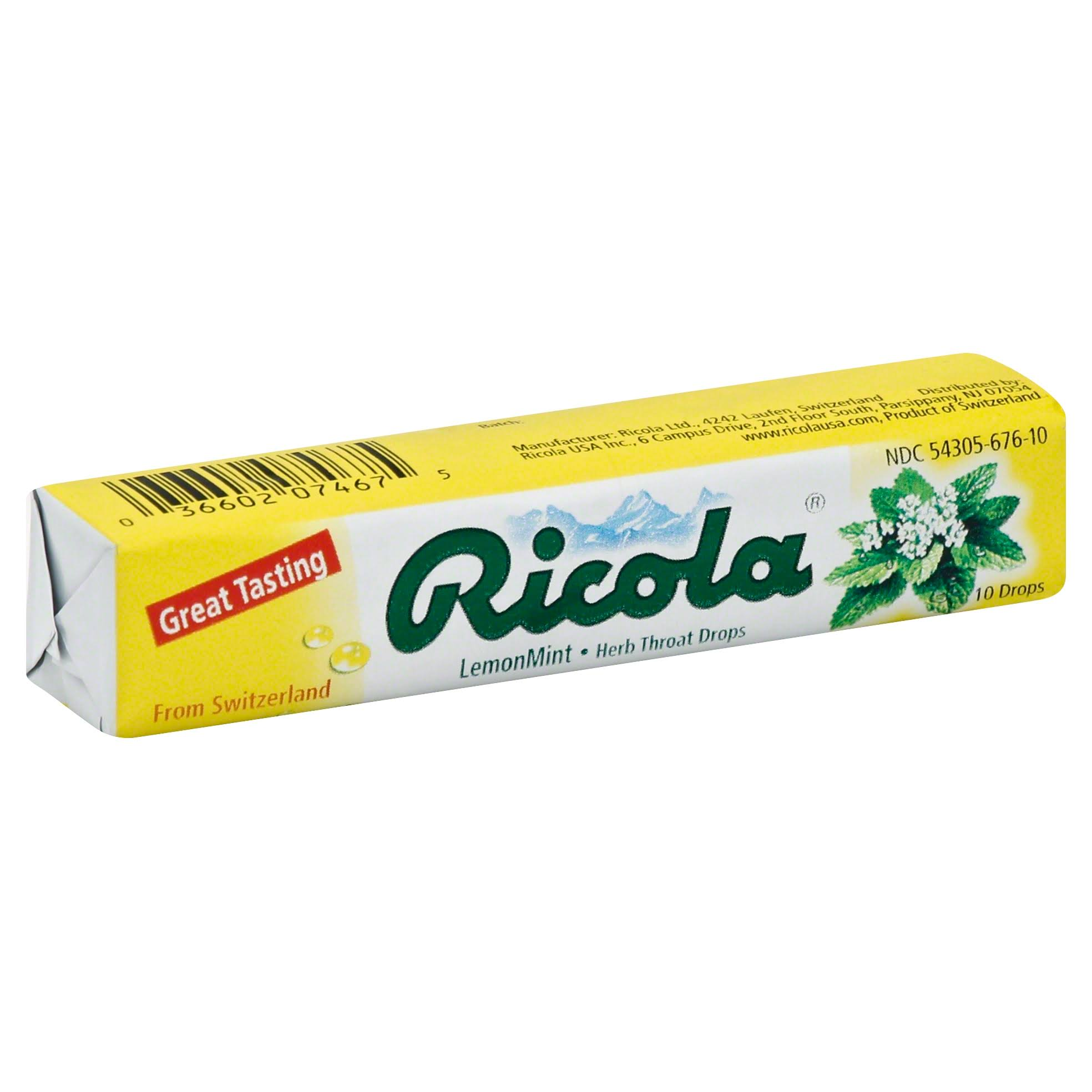 Ricola Natural Herb Throat Drops - Lemon Mint, 10 Drops/18 Ea