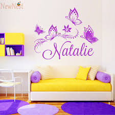Custom Girl Name Vinyl Decal Flowers And Butterflies Wall
