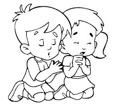 Two Child Prayers Coloring Picture For Kids