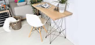 bureau stylé bureau style industriel en chêne massif naturel et acier fly