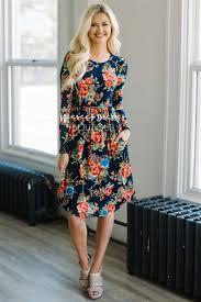 cute navy floral pocket summer modest dress best and affordable