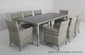 [Hot Item] Outdoor Patio Furniture Garden Rattan Wicker Dining Table Sets  9PCS