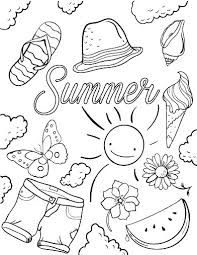Summertime Coloring Pages Printable Free Summer Kids Fun