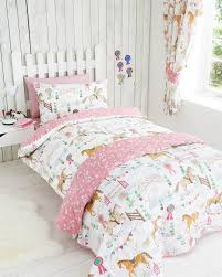 Twin Horse Bedding by Girls White Green U0026 Pink Horse And Pony Show Double Duvet Cover