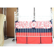 levy s dandelion damask baby bedding coral navy crib bedding