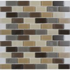 Lowes Canada Bathroom Floor Tile by Avenzo 12 In X 12 In Avenzo Mosaic Beige Glass Wall Tile Lowe U0027s