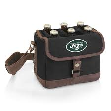 New York Jets - 'Beer Caddy' Cooler Tote With Opener By Picnic Time (Black)