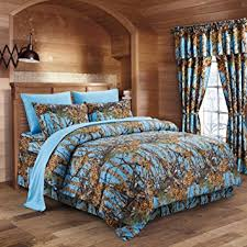 The Woods Powder Blue Camouflage Queen 8pc Premium Luxury Comforter Sheet Pillowcases And