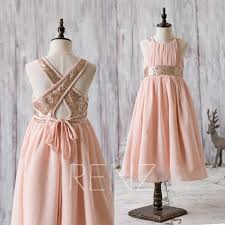 2016 Peach Junior Bridesmaid Dress Rose Gold Sequin Flower Girl A Line Empire Waist Children Cocktail Floor Length HK207