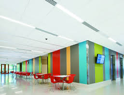 acoustical ceiling system organizes lighting air diffusers and