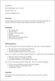 Hospital Registrar Resume Template Best Design Tips