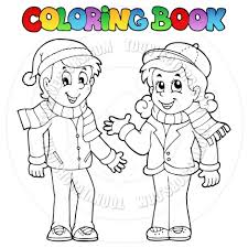 Cartoon Coloring Book Kids In Winter Clothes