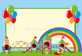 Download Border Template With Kids At Playground Stock Vector