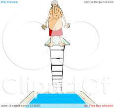Clipart Of A Man Standing At The Top High Dive Diving Board