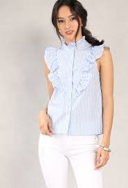 ruffled stripe high neck button up blouse shop new and now at