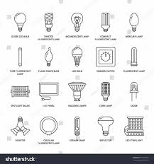 s halogen light bulb types flat line icons led stock