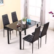 Tempered Glass Dining Table Set And 46 Faux Leather Chairs Kitchen