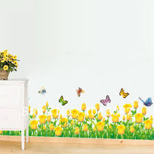 Tulip Flower Butterfly Wall Border Sticker 3D Decoration Bedroom Stickers New 2014 Paper