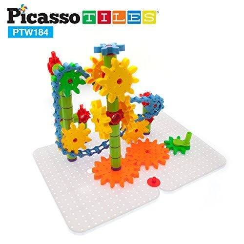 PicassoTiles PTW184 184pcs 3D Interlocking Gear Spinning Wheel Toy Kit Deluxe Stem Building Set w/ Construction Stabilizer Base, Turning Chain Li