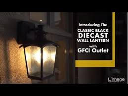 home luminaire die cast outdoor wall lantern with gfci outlet