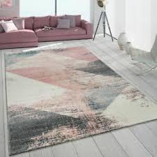 teppich wohnzimmer modern in grau weiß rosa pastell dreieck
