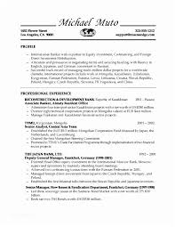 Banker Resume Investment Banking Internship Of Bank Teller Sample