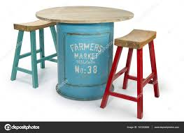 Vintage Barrel Table With Two Modern High Chairs, Clipping ...