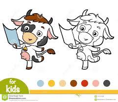 Coloriages De Petit Veau Ou Vache Drôle Image Vectorielle