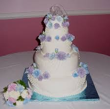 Valentina Wild s Wedding Cake With Pastel Blue and Pastel Purple Roses View full size · View slideshow
