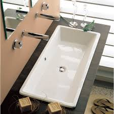 Trough Sink With Two Faucets by Scarabeo 8033 By Nameek U0027s Gaia Rectangular White Ceramic Drop In