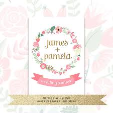 Printable Wedding Planner With Custom Cover O Floral Pink Glitter US Letter From Pretty