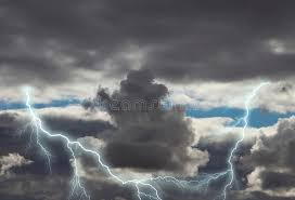 Download Dark Storm Clouds With Lightning Stock Photo