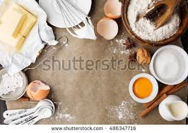 Baking Ingredients For Homemade Pastry On Dark Rustic Wooden Background Bake Sweet Cake Dessert Concept