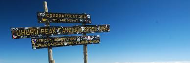 The Old Wooden Sign At Top Of Kilimanjaro