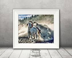 Horses Running Print Western 8x10 Decor Gift For Him